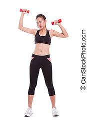 woman with lifting weights - Young woman doing exercise with...