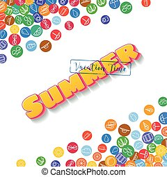 Vacation background with scattered summer icons - Vacation...