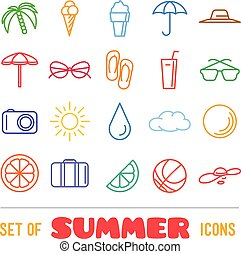 Vacation themed icons with thin lines. Panama hat, orange,...