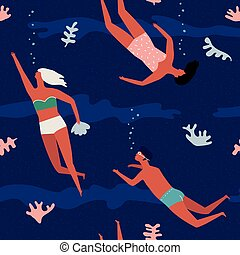 Under the sea swimming people vector illustration. Funny cartoon