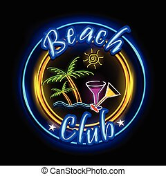 Neon Light signboard for Beach Club - easy to edit vector...