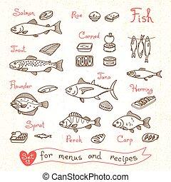 ensemble, Dessins, de, fish, pour, conception, Menus,...