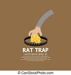 Cheese In A Rat Trap Vector.
