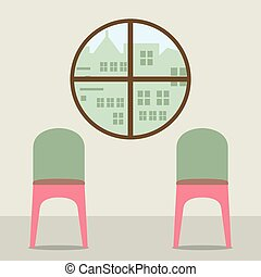 Two Chairs Under Round Window. - Two Chairs Under Round...