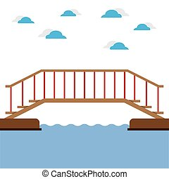 Wooden Bridge Over The River Vector Illustration.