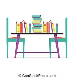 Colorful Chairs And Books On Table.