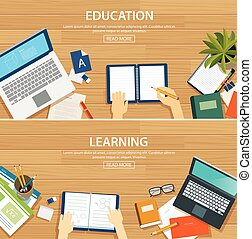 Education and learning banner flat design template School...