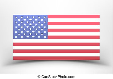 American national flag on a white background with shadow.