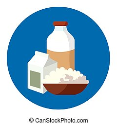 Milk, cheese and yogurt - the main milk products - Milk...