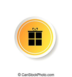 sticker in yellow color with gift box illustration