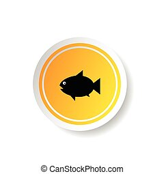 sticker in yellow color with fish illustration