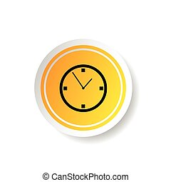 sticker in yellow color with clock illustration