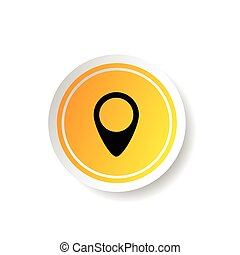 sticker in yellow color with pointer illustration