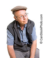 Expressive old man ogling isolated against white background.