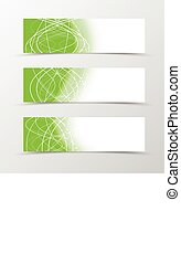 Set of banner wavy design Green banner for header with curly...