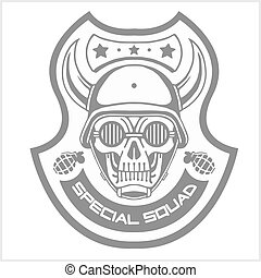 Military and biker patch isolated on white - Military and...