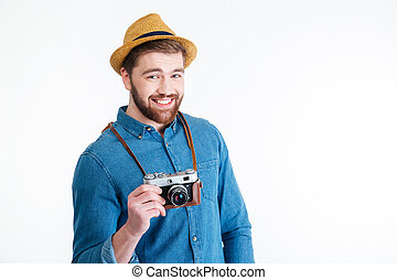 Close-up portrait of a hipster man over white background -...