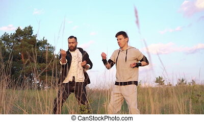 The fighting of Wing Chun between strong men near the river...
