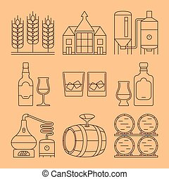 Whisky line icons set. Process and industry outline vector...