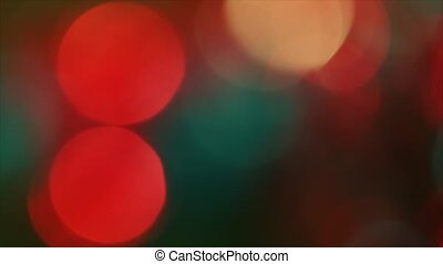 4K Shaky Of Focus Circular Bokeh Red and Green On Flicker