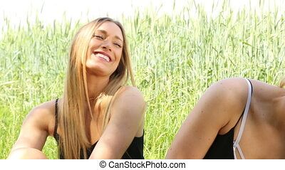female twins having fun in the sun. hd - female twins having...