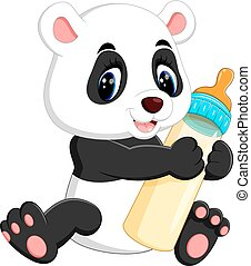 cute baby panda - illustration of cute baby panda cartoon