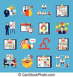 Scrum Agile Development Flat Icons Set - Scrum agile...