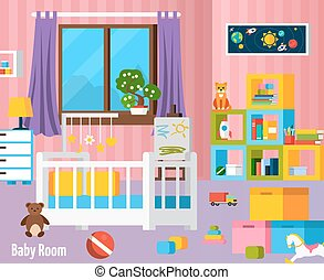 Baby Room Flat Colorful Composition