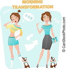 Morning Girl Transformation Poster - Cartoon style poster of...