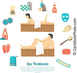 Bath Sauna Family Visit Illustration Poster - Family bath...