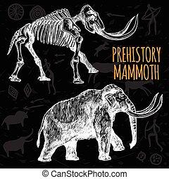 Sketch Hand Drawn Mammoth Chalkboard - Sketch hand drawn...