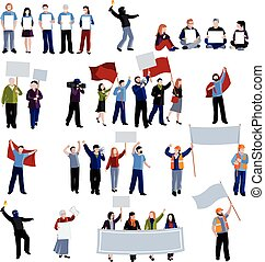Demonstration Protest People Icons Set - Demonstration...