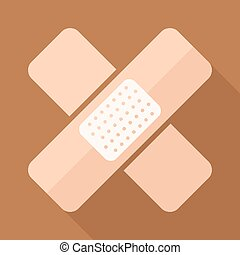Adhesive plaster vector icon in flat style with long shadow....
