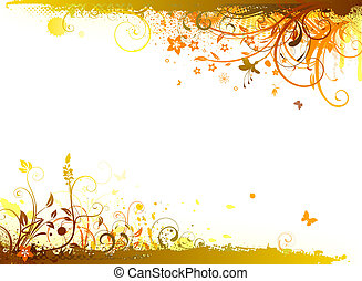 floral background - Vector illustration of styled Floral...