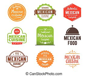 Mexican cuisine vector label