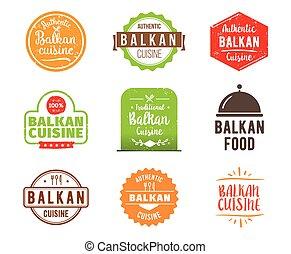 Balkan cuisine vector label - Balkan cuisine, authentic...