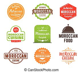 Moroccan cuisine vector label - Moroccan cuisine, authentic...