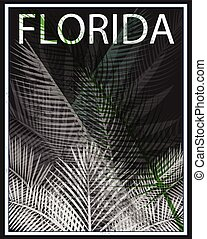 Florida typography with floral illustration for t-shirt...