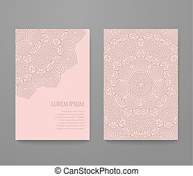 Business card with trendy colors rose quartz and serenity. Flyer template set, invitation collection, abstract elegant pattern vector design.