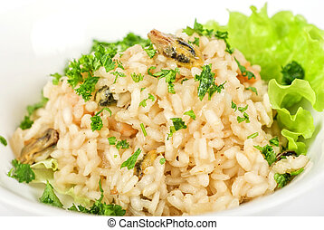 risotto with seafood isolated on a white