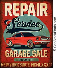 Vintage classic car repair service tee graphic design