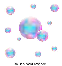 Transparent realistic soap bubbles. Isolated vector...