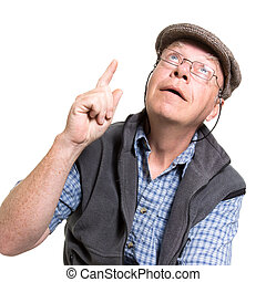 Expressive old man pointing isolated against white...