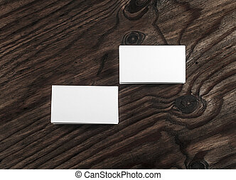 Blank business cards - Blank white business cards on dark...