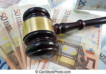 Legal euro - Judges legal gavel on Euro bills