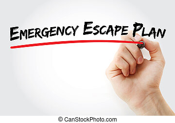 Hand writing Emergency Escape Plan with marker, business...