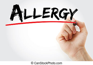 Hand writing Allergy with marker, health concept background