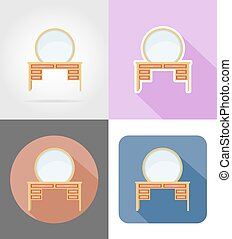 vanity table furniture set flat icons vector illustration...