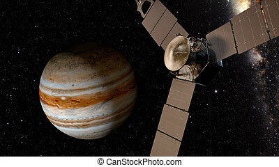 jupiter and satellite juno, 3D rendering.