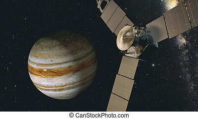 jupiter and satellite juno, 3D rendering